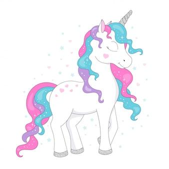 Unicorn tekening. mode illustratie tekenen in moderne stijl voor kleding. glitter, eenhoorn, glanzend.