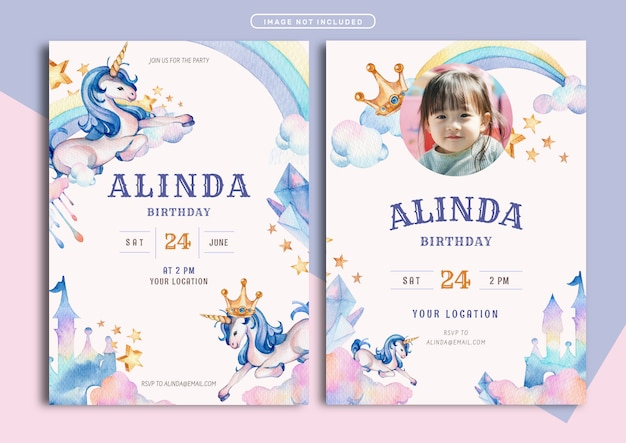 Unicorn thema verjaardag uitnodiging kaartsjabloon