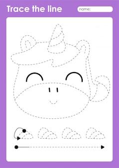 Unicorn - tracing lines voorschoolse werkblad voor kinderen voor het oefenen van fijne motoriek