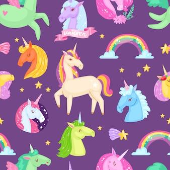 Unicorn vector cartoon kinderen karakter van meisjesachtig paard met hoorn en kleurrijke paardenstaart