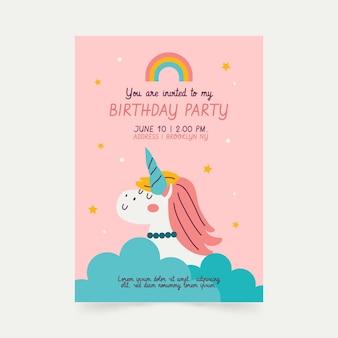 Unicorn verjaardag uitnodiging sjabloon