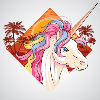 Unicorn zomerstrand en kokosnootboom vectorelement