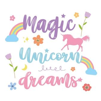 Unicorns horse cute dream fantasy cartoon karakter vector