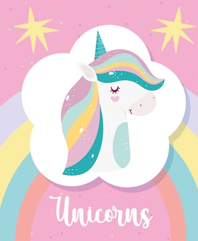 Unicorns magische fantasie cartoon hoorn haar regenboog roze achtergrond