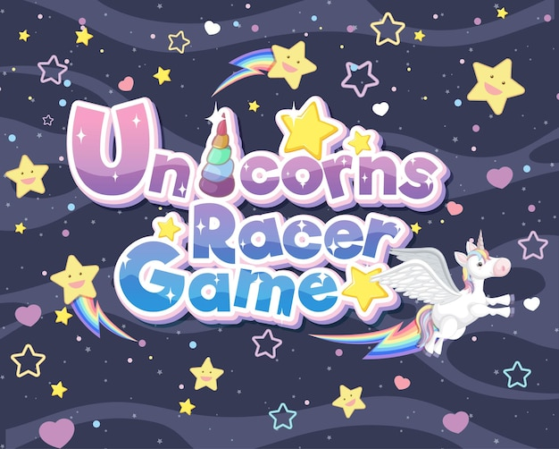 Unicorns racer game-logo of banner