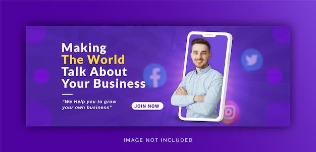 Uniek concept social media post live voor digitale marketingpromotie facebook-omslagsjabloon
