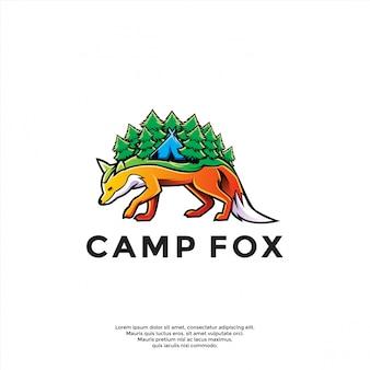 Uniek kamp boven vos logo sjabloon
