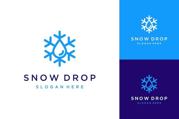 Uniek logo-ontwerp sneeuw met waterdruppels