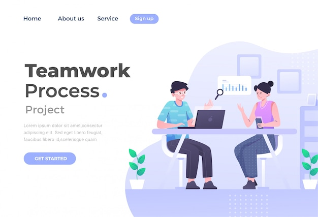 Uniek modern plat ontwerpconcept van teamwerk voor website en mobiele website