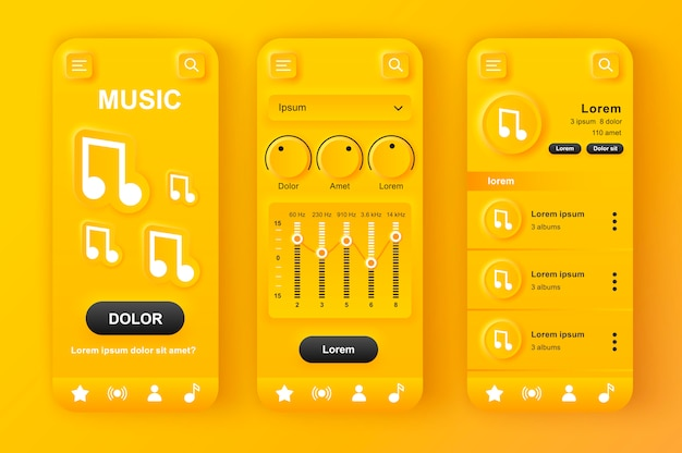 Uniek neumorf geel ontwerpset voor muziekspeler.