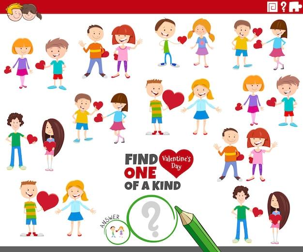 Uniek spel met cartoon kinderparen bij valentijnsdag
