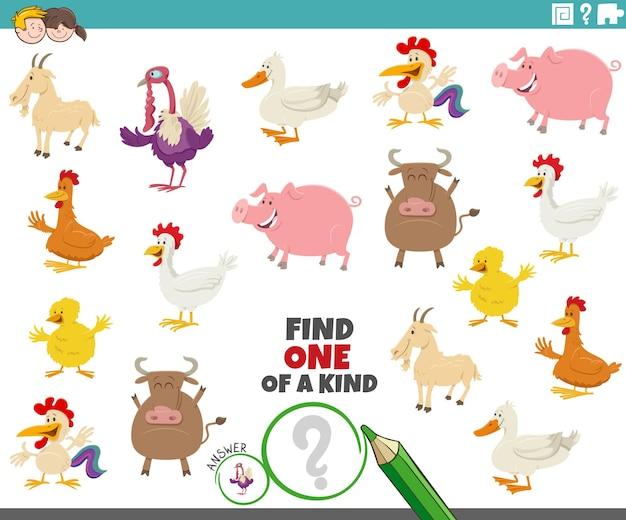 Uniek spel voor kinderen met cartoon boerderijdieren