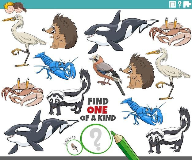 Uniek spel voor kinderen met cartoon wilde dieren