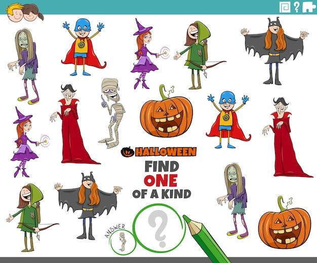 Uniek spel voor kinderen met halloween-karakters