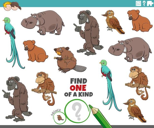 Uniek spel voor kinderen met tekenfilm dieren
