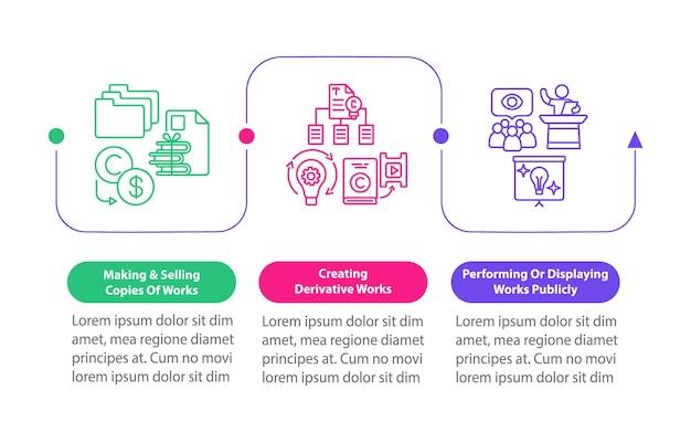 Unieke auteursrecht vector infographic sjabloon. ontwerpelementen voor afgeleide werken maken. datavisualisatie met 3 stappen. proces tijdlijn grafiek. workflowlay-out met lineaire pictogrammen