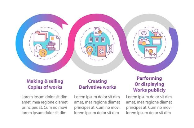 Unieke auteursrechten infographic sjabloon. maken, verkopen van werken kopieert presentatie-ontwerpelementen.