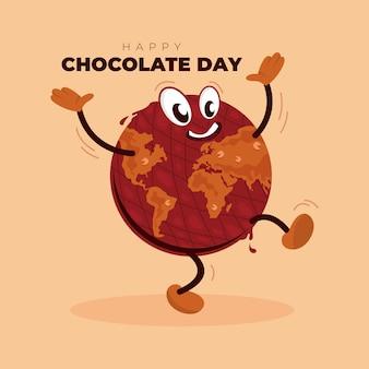 Unieke chocoladekaraktervector - gelukkige chocoladedag