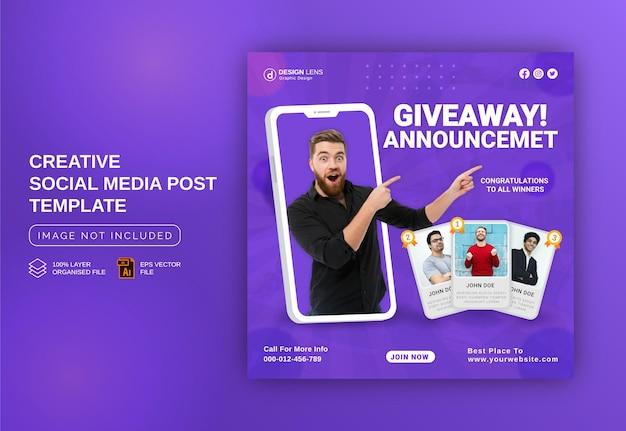 Unieke concept giveaway winnaar aankondiging social media post instagram-sjabloon