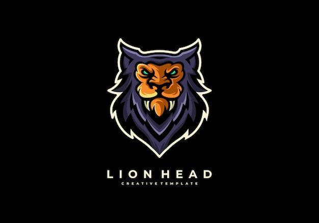 Unieke creatieve leeuwenkop mascotte logo sjabloon