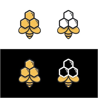 Unieke honingraat moderne logo-sjabloon