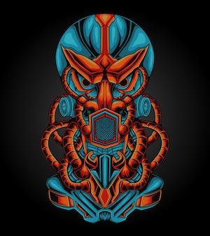 Unieke lange illustratie van het mecha-schedelkunstwerk