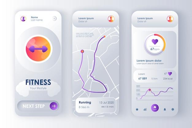 Unieke neomorfe fitnessmonitor voor app. persoonlijke tracker met lopende route op kaart, analyse van activiteiten, hartslag. sport ui, ux-sjabloon instellen. gui voor responsieve mobiele applicatie.