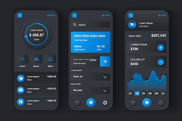 Unieke neomorfe kit voor online bankieren. app voor financieel beheer, geld overmaken, rekeningen betalen, cheques storten. financieel investeren en ui, ux-sjabloonset beheren. gui voor responsieve mobiele applicatie
