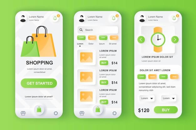 Unieke neumorfe ontwerpkit voor winkeloplossingen.