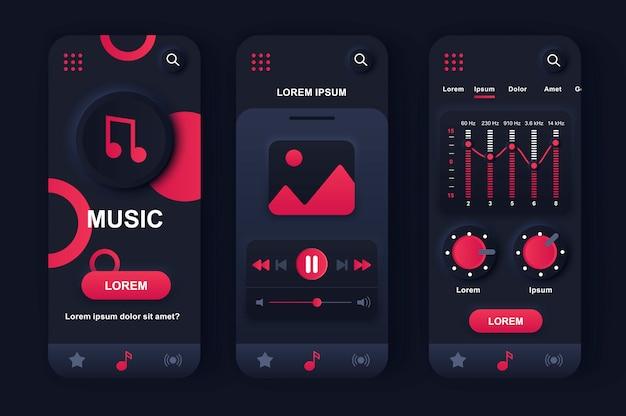 Unieke neumorfe ontwerpset voor muziekspeler voor app.