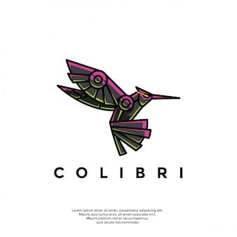Unieke robotachtige kolibrie logo sjabloon