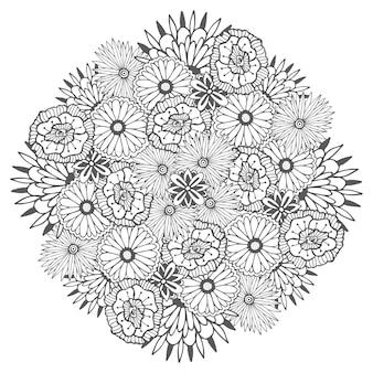 Unieke vectormandala met bloemen. decoratieve ronde bloemenzentangle voor het kleuren van boekpagina's
