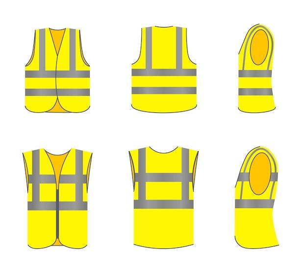 Uniform kledingset voor verkeers- of industriële arbeidersjas. mouwloze jas met lichtgevende tape vectorillustratie. voor-, achter- en zijaanzicht van beschermende kleding geïsoleerd op een witte achtergrond