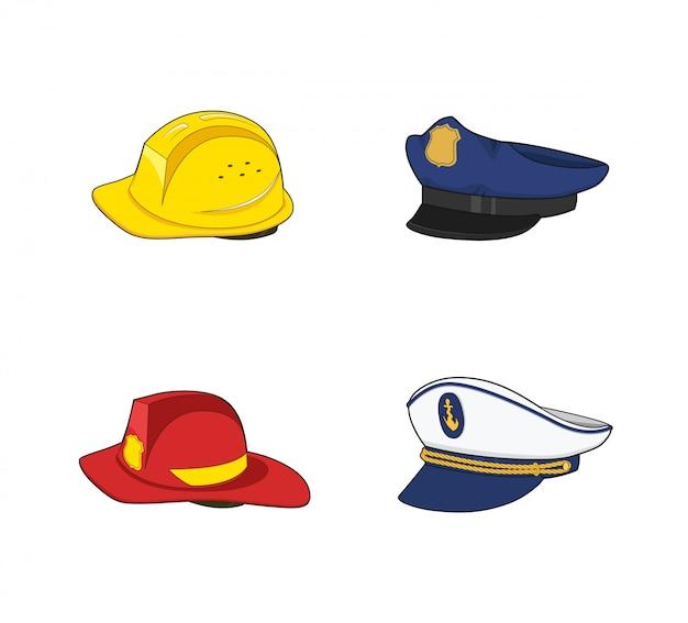 Uniform werknemers. politieagent, brandweerman, kapitein, bouwhoedenset. brandweerman rood en bouw gele helm. veiligheids uitrusting. cap- en helmcollectie.