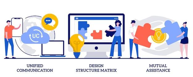 Uniforme communicatie, ontwerpstructuurmatrix, concept voor wederzijdse bijstand met kleine mensen. zakelijke ondersteuning abstracte vector illustratie set. projectmanagement, teamwork, partnerschap metafoor.