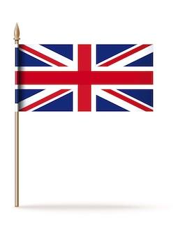 Union jack. nationale vlag van het verenigd koninkrijk op een gouden vlaggenmast. geïsoleerd op wit