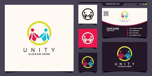 Unity family people together logo met uniek concept en visitekaartjeontwerp premium vector