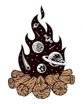 Universe kampvuur illustratie