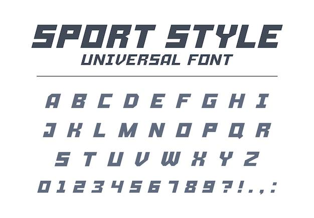 Universeel lettertype in sportstijl. hoge snelheid, futuristisch, technologie, toekomstig alfabet. letters en cijfers voor militaire, industriële, elektrische auto racelogo. modern minimalistisch lettertype