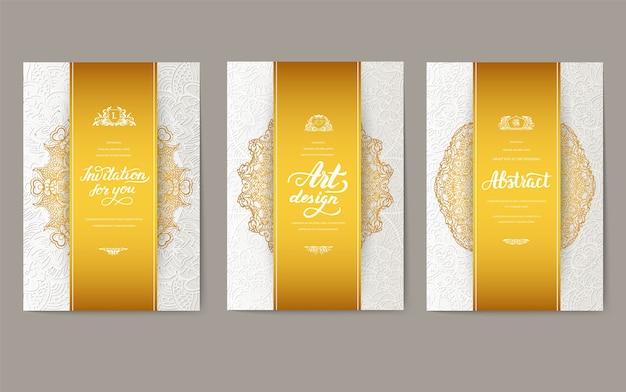 Universele flyer 3x4 met unieke decoratie. uitnodigingskaart voor verjaardag, feest of bruiloft.