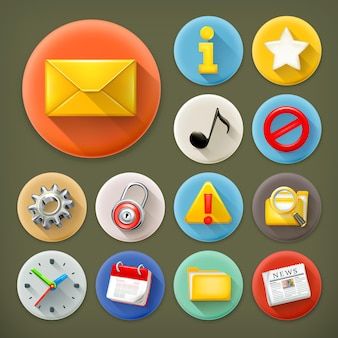 Universele, lange schaduw icon set Premium Vector