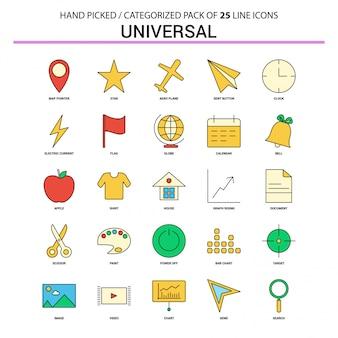 Universele platte lijn icon set
