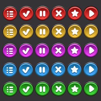 Universele vector verzameling knoppen voor mobiele spellen van verschillende kleuren