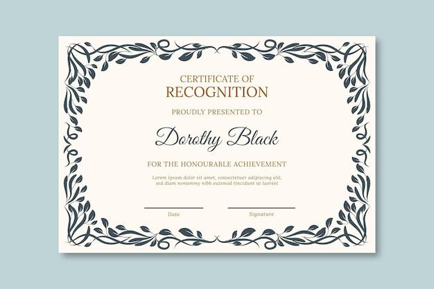 Universitair diploma sjabloon met zwart frame
