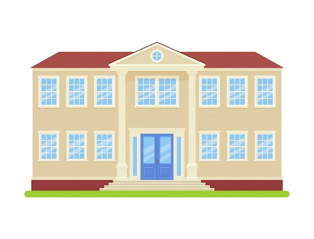 Universitair gebouw. . college vooraanzicht. gevel van het onderwijs gebouw. middelbare school pictogram geïsoleerd. cartoon vlakke afbeelding. straat architectuur.