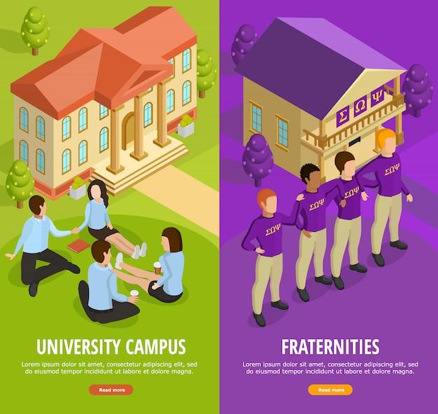 Universitair onderwijs 2 isometrische verticale banners