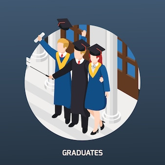 Universitaire afgestudeerden met diploma in academische hoeden maken selfie isometrische samenstelling uitnodigingskaart ronde frame illustratie