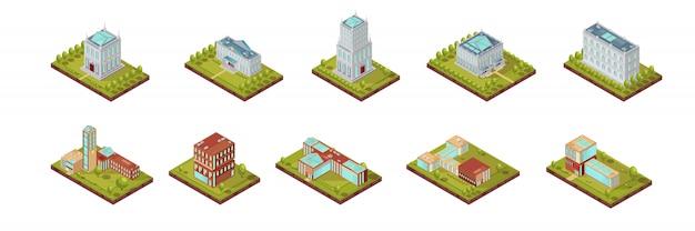 Universitaire gebouw isometrische set
