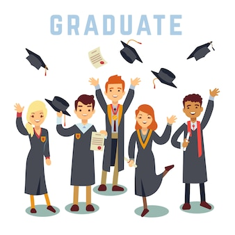 Universitaire jonge afgestudeerde studenten. afstuderen en onderwijs concept.