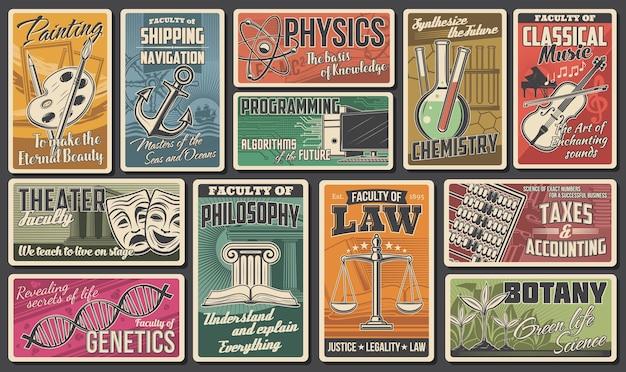 Universiteit, academie faculteiten vector retro banners. programmeren van informatietechnologie, schilderen en muziek, scheikunde, genetica en botanie, belastingen en boekhouding. hoger onderwijs
